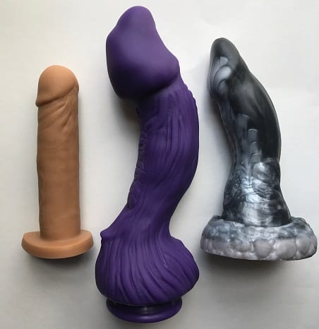 Tantus Alan, Scifi Erotics Zuklat, and Bad Dragon Nox in medium