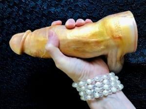 Mr Hankeys Toys Nick Capra dildo gold porn star cock pearl bracelet