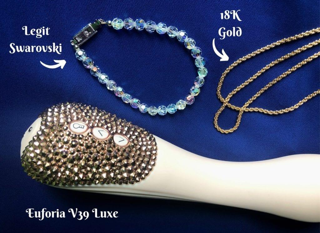 Pure Romance Euforia V39 Luxe vibrator gold crystals legit