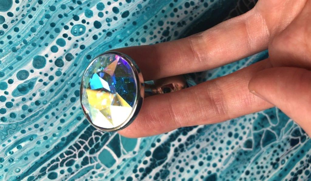 Rosebuds stainless steel jewel butt plug Swarovski crystal Aurora fingers