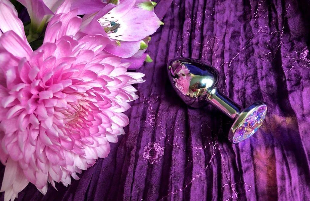 Rosebuds stainless steel jewel butt plug Swarovski crystal flowers