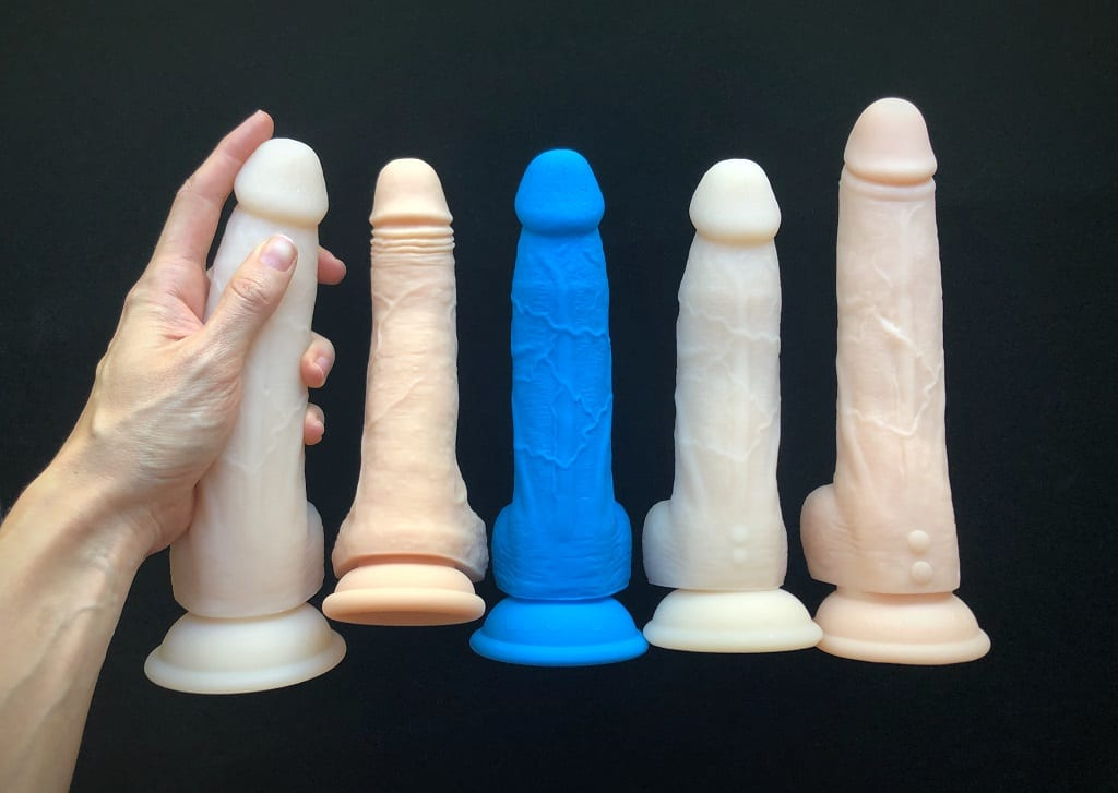 Naked Addiction dildo lineup by BMS Factory_ Dual Density, Freak thrusting dildo, Dual Density Peepshow Toys blue, Rotating, & Thrusting dildos