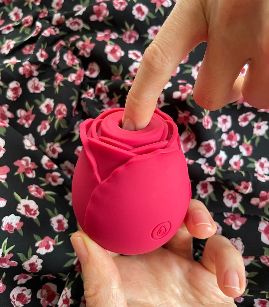 Rose vibrator_ NS Inya Review, suction mouth size in hand